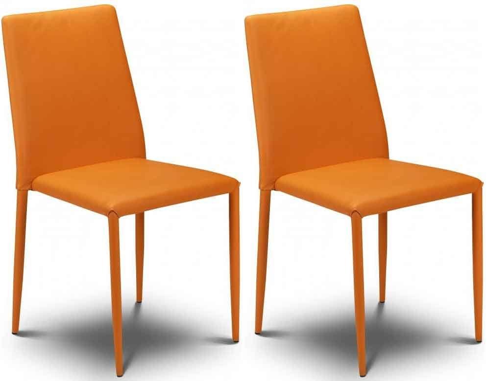 Julian Bowen Jazz Orange Faux Leather Dining Chair - Stacking Chair (Pair)