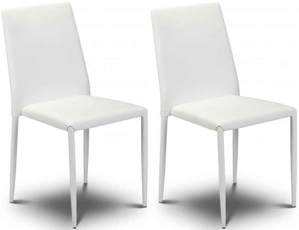 Buy julian bowen jazz white faux leather dining chair for Faux leather dining chairs