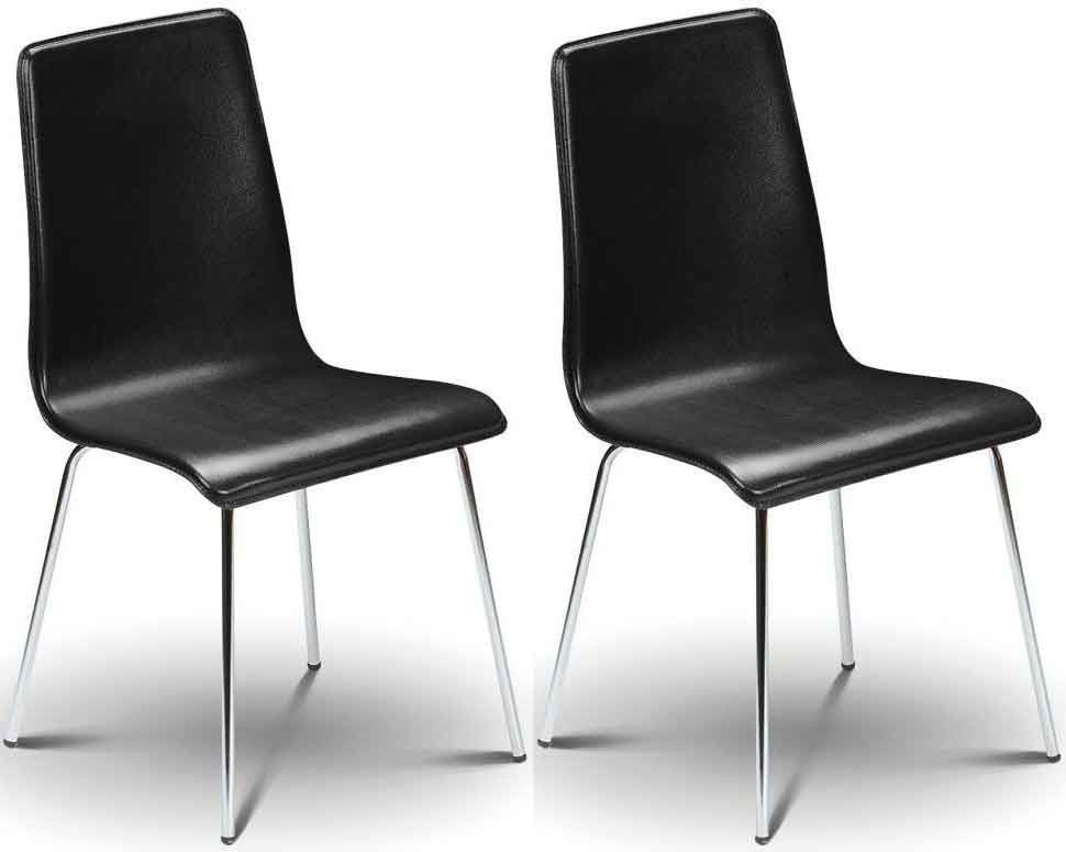 Julian Bowen Mandy Black Leather Dining Chair (Pair)