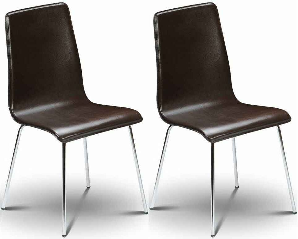 Julian Bowen Mandy Brown Leather Dining Chair (Pair)