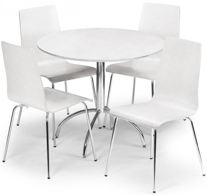 Julian Bowen Mandy White Dining Set - 90cm Round Fixed Top with 4 Chairs
