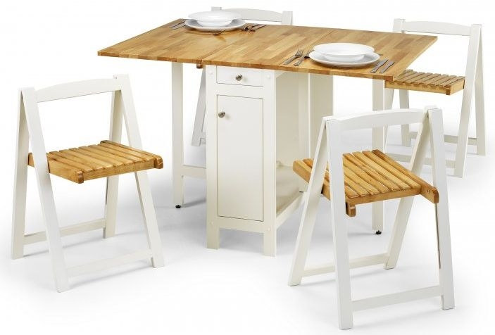 Julian Bowen Savoy White and Natural Rectangular Drop Leaf Dining Set with 4 Chairs - 35cm-120cm