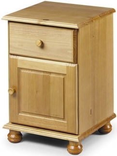 Julian Bowen Pickwick Pine Bedside Cabinet - 1 Door 1 Drawer