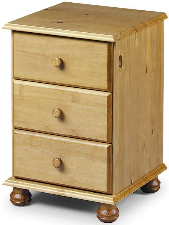 Julian Bowen Pickwick Pine 3 Drawer Bedside Cabinet