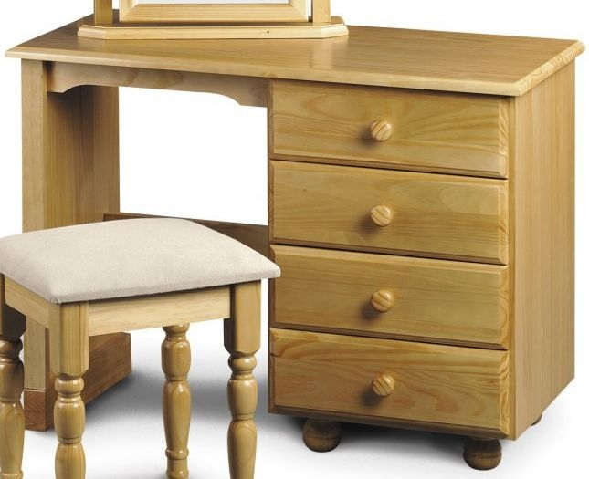 Julian Bowen Pickwick Pine Dressing Table - Single Pedestal 4 Drawers