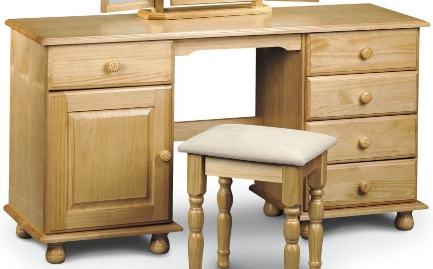 Julian Bowen Pickwick Pine Dressing Table - Twin Pedestal 1 Door 5 Drawers