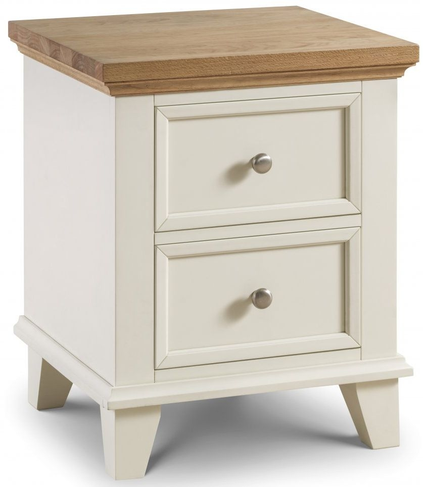 Julian Bowen Portland Oak and White 2 Drawer Bedside Cabinet