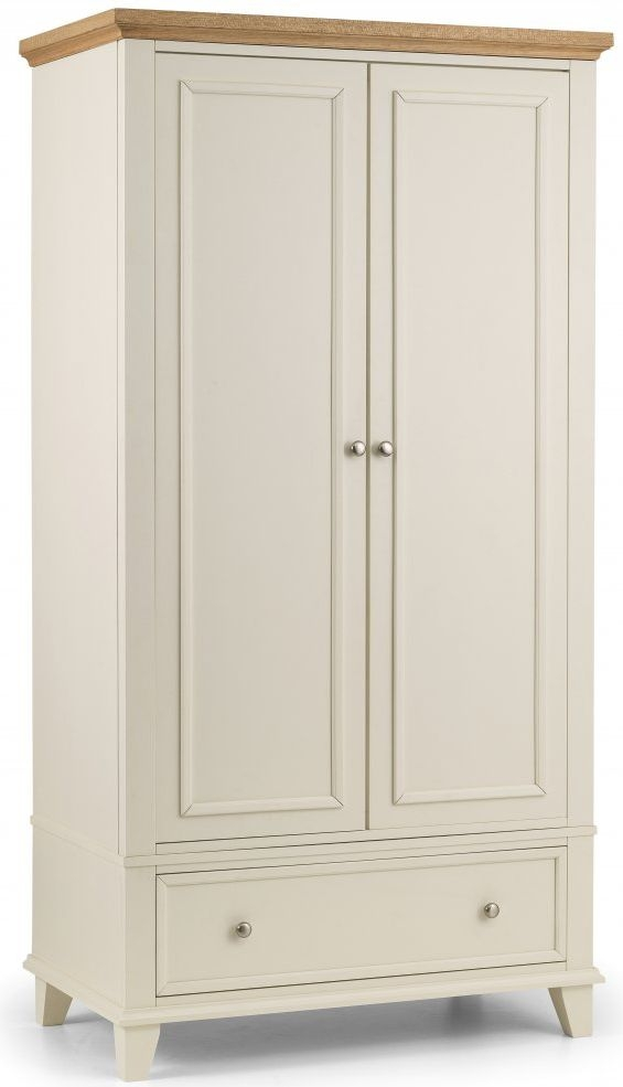 Julian Bowen Portland 2 Door 1 Drawer Wardrobe - Oak and White