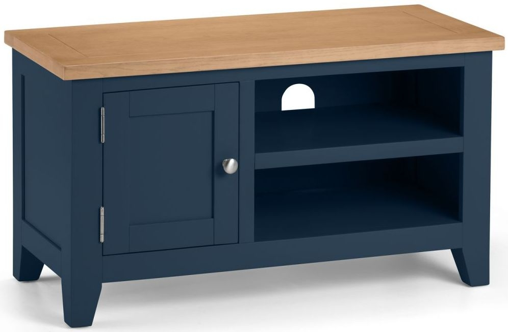 Julian Bowen Richmond TV Unit - Oak and Blue