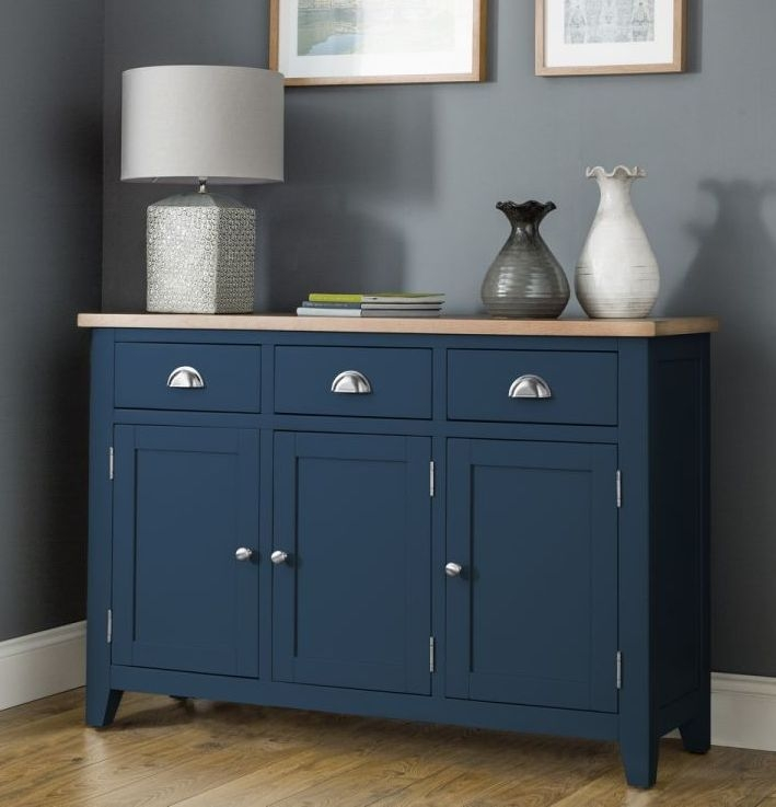 Julian Bowen Richmond Oak and Blue 3 Door 3 Drawer Sideboard