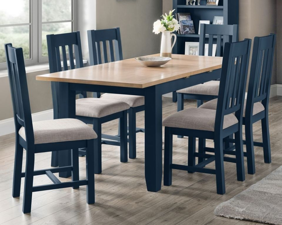 Julian Bowen Richmond Extending Dining Table and Chairs - Oak and Blue