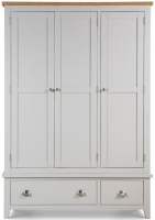 Julian Bowen Richmond Grey Painted 3 Door 2 Drawer Triple Wardrobe