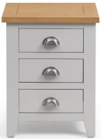 Julian Bowen Richmond Grey Painted 3 Drawer Bedside Cabinet