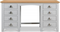 Julian Bowen Richmond Grey Painted 8 Drawer Double Pedestal Dressing Table