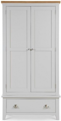 Julian Bowen Richmond Oak and Grey 2 Door 1 Drawer Wardrobe