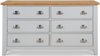 Julian Bowen Richmond Oak and Grey 6 Drawer Chest