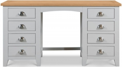 Julian Bowen Richmond Oak and Grey 8 Drawer Dressing Table