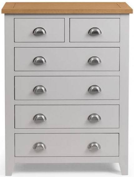 Julian Bowen Richmond 4+2 Drawer Chest - Oak and Grey