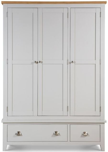 Julian Bowen Richmond 3 Door 2 Drawer Wardrobe - Oak and Grey