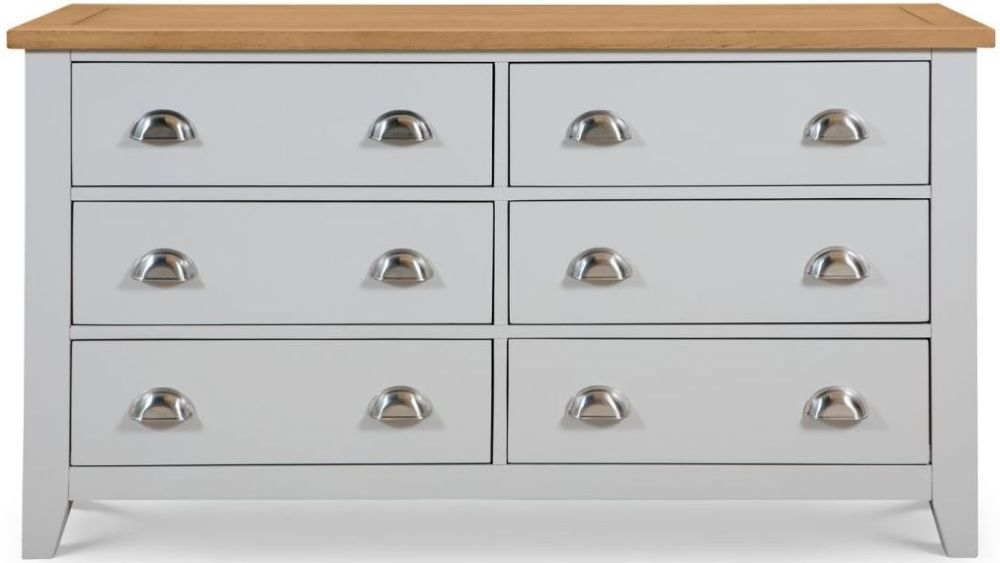 Julian Bowen Richmond Grey Painted 6 Drawer Wide Chest