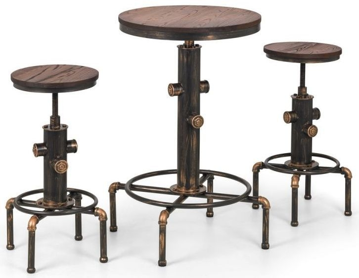 Julian Bowen Rockport Brushed Copper Bar Table and 2 Stool