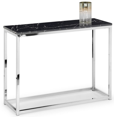 Julian Bowen Scala Black Marble and Chrome Console Table