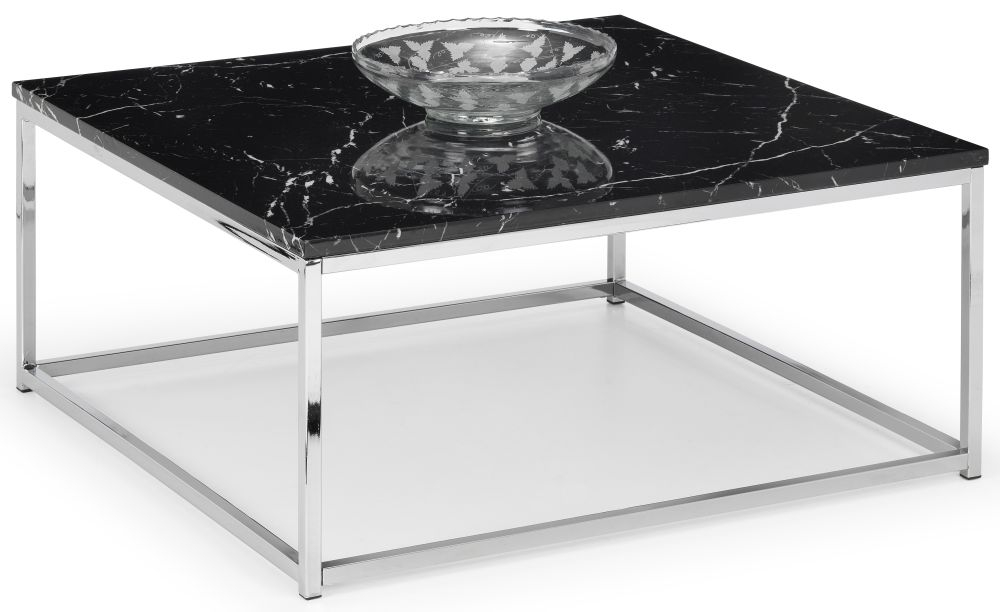 Julian Bowen Scala Black Marble and Chrome Square Coffee Table