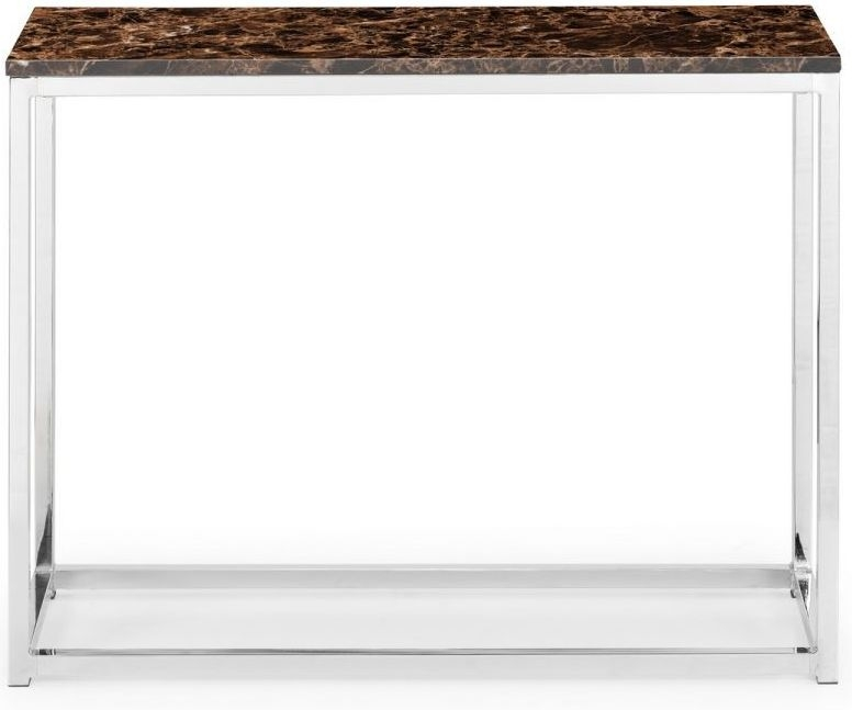 Julian Bowen Scala Bronze Marble and Stainless Steel Chrome Console Table