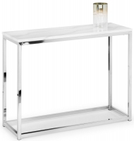 Julian Bowen Scala Console Table - White Marble and Chrome