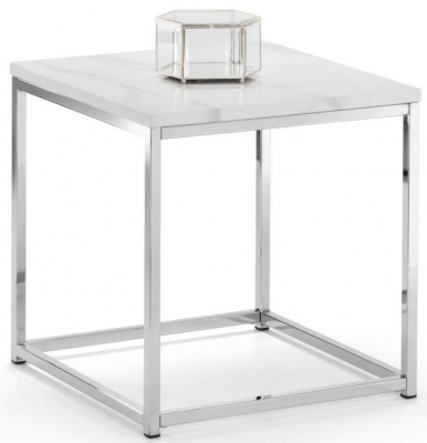 Julian Bowen Scala White Marble and Chrome Lamp Table