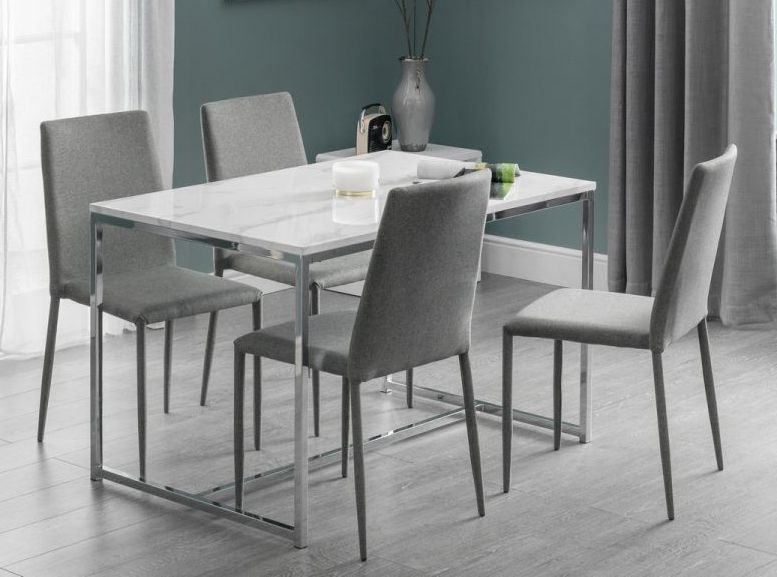 Julian Bowen Scala Dining Table - White Marble and Chrome