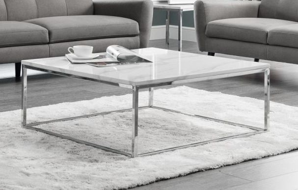 Julian Bowen Scala White Marble and Chrome Square Coffee Table