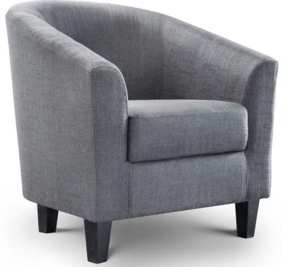 Julian Bowen Hugo Slate Grey Linen Fabric Tub Chair