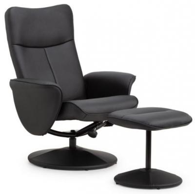 Julian Bowen Lugano Swivel and Black Faux Leather Recline Chair