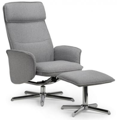 Julian Bowen Aria Grey Linen and Chrome Recliner Chair and Stool