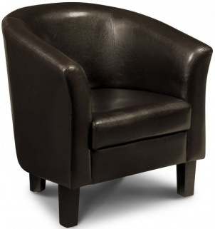 Julian Bowen Garrick Brown Faux Leather Tub Chair