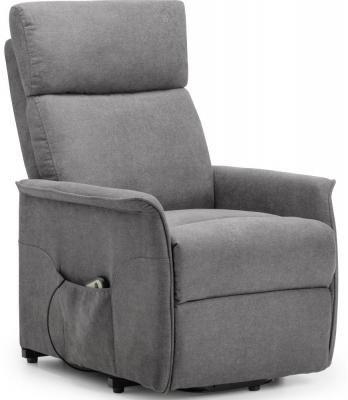 Julian Bowen Helena Rise and Charcoal Grey Velvet Recline Chair