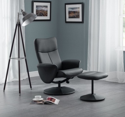 Julian Bowen Lugano Swivel and Black Faux Leather Recline Chair
