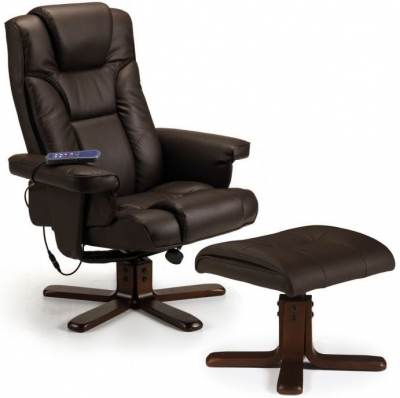 Julian Bowen Malmo Brown Faux Leather Recliner Chair and Stool