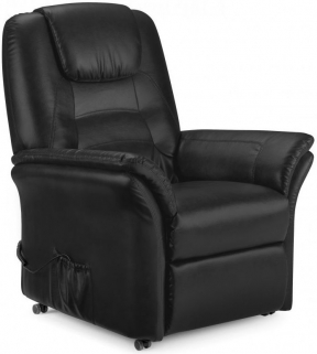 Julian Bowen Riva Rise and Black Faux Leather Recliner Chair