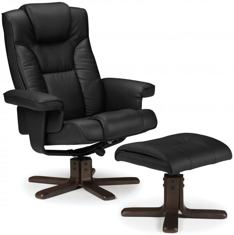 Julian Bowen Malmo Black Faux Leather Swivel and Recliner Chair - with Footstool