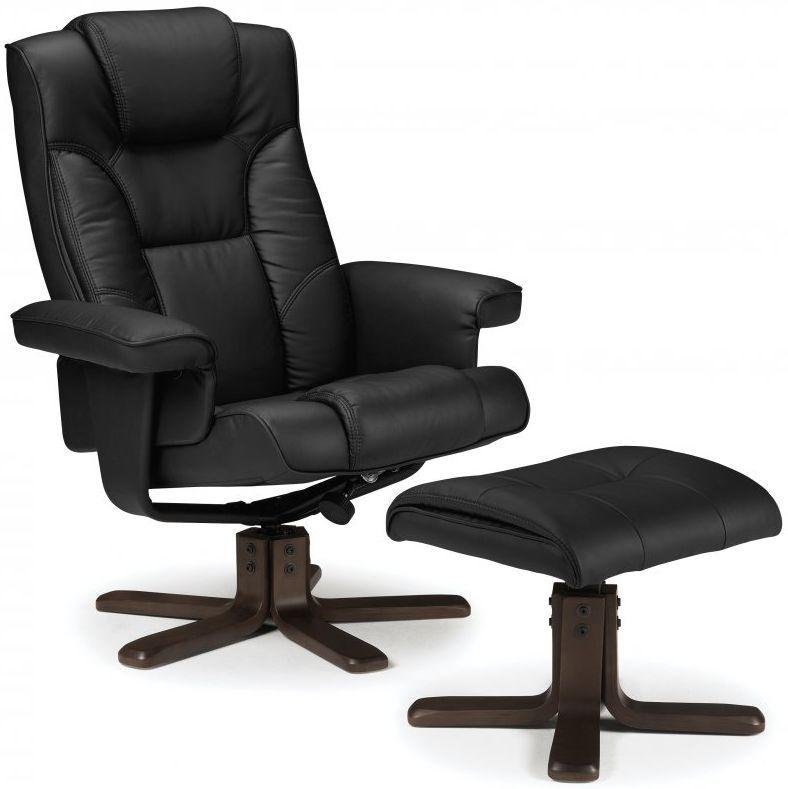 Julian Bowen Malmo Black Faux Leather Swivel and Recliner  : 3 Julian Bowen Malmo Black Faux Leather Swivel and Recliner Chair with Footstool from www.choicefurnituresuperstore.co.uk size 788 x 789 jpeg 118kB