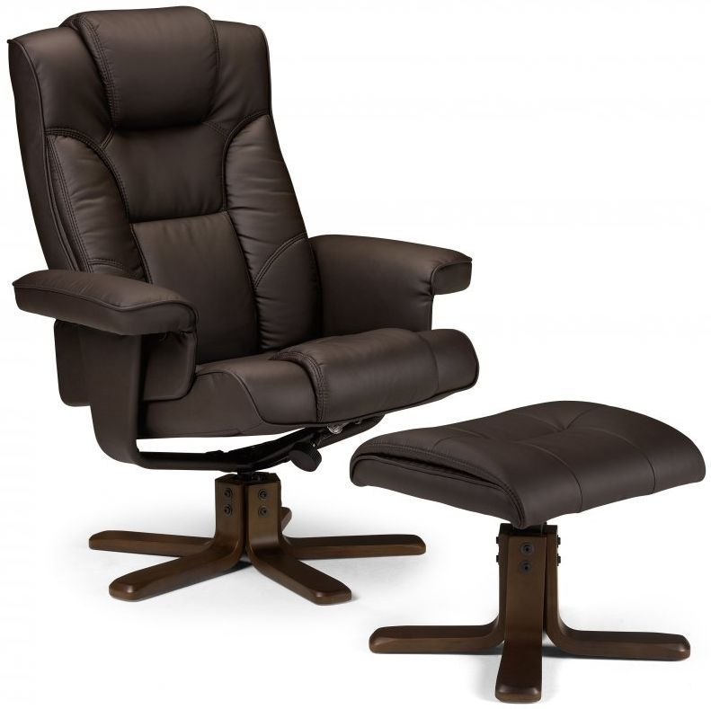 Julian Bowen Malmo Brown Faux Leather Swivel and Recliner Chair - with Footstool