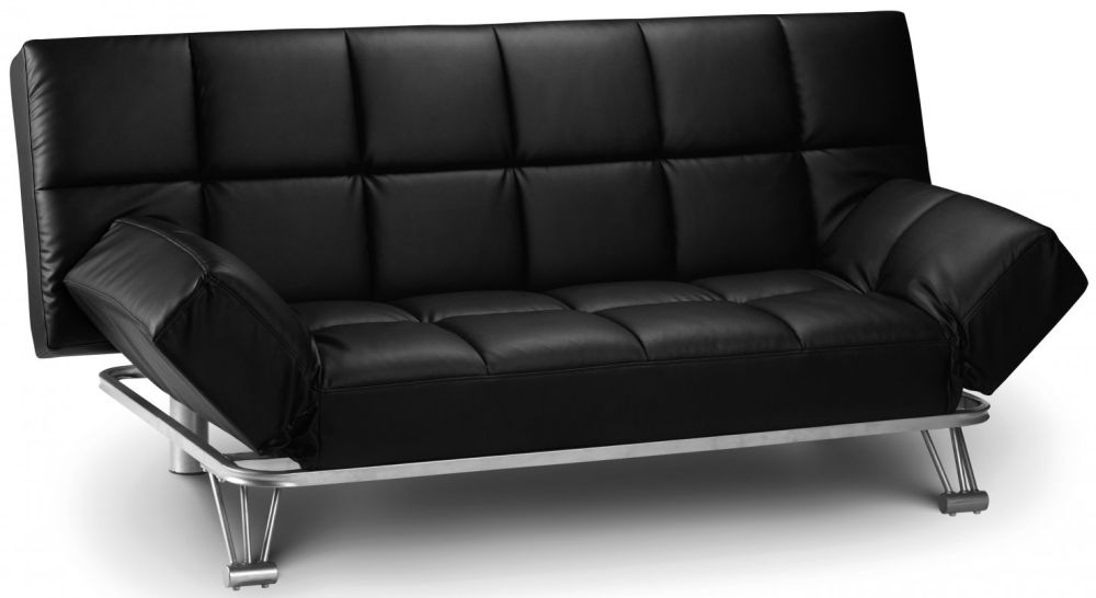 Julian Bowen Manhattan Black Faux Leather Sofa Bed