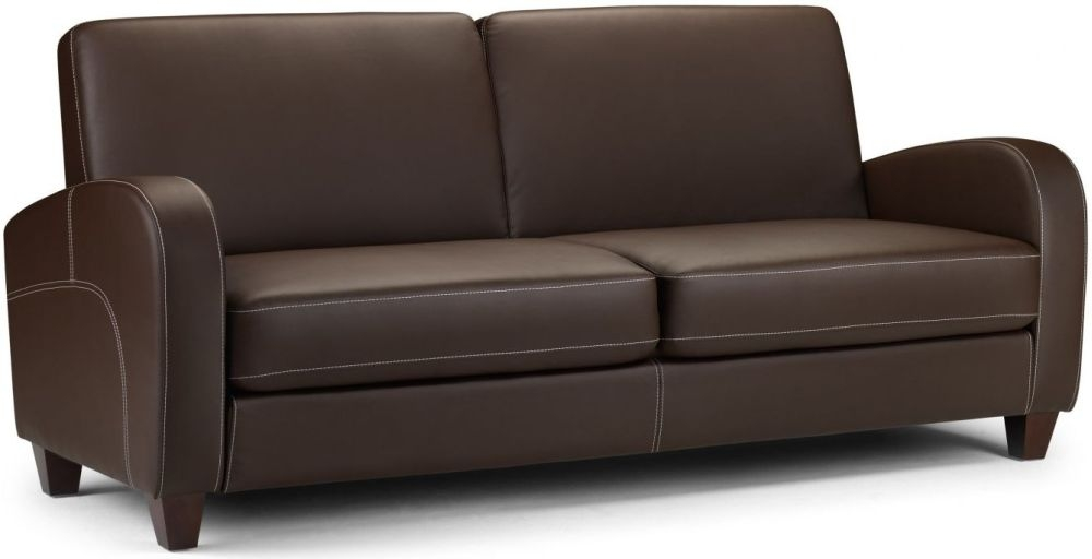 Julian Bowen Vivo Brown Faux Leather 3 Seater Sofa