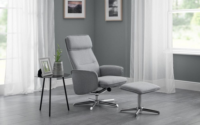Julian Bowen Aria Grey Linen and Chrome Recliner Chair and Stool