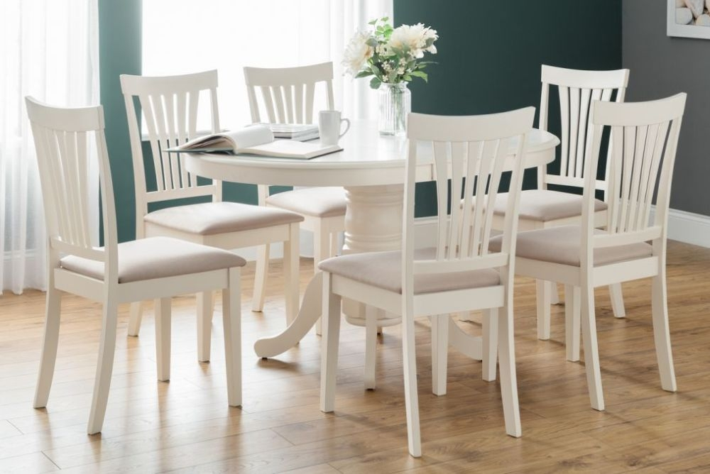 Julian Bowen Stamford Ivory Round Extending Dining Table And Chairs Cfs Furniture Uk
