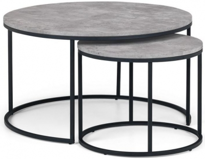 Julian Bowen Staten Faux Concrete Round Nest of Coffee Table