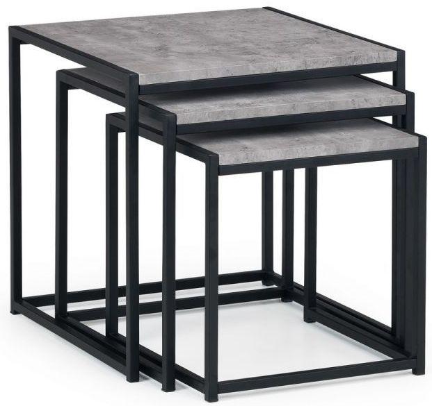 Julian Bowen Staten Faux Concrete Nest of 3 Tables
