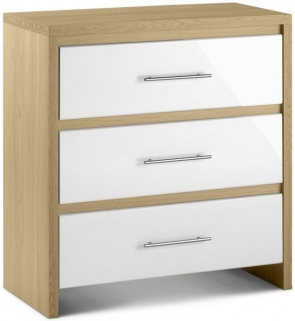 Julian Bowen Stockholm White Chest of Drawer - 3 Drawers